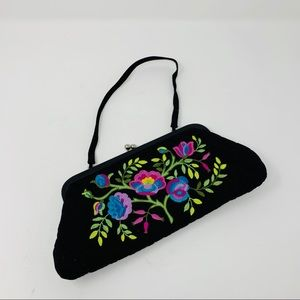 Vera Bradley Black Embroidered Floral Clutch Purse